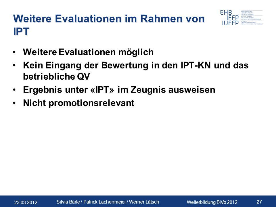 Weitere Evaluationen im Rahmen von IPT