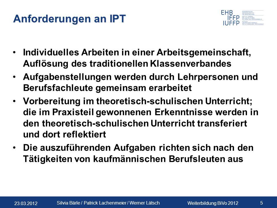 Anforderungen an IPT Individuelles Arbeiten in einer Arbeitsgemeinschaft, Auflösung des traditionellen Klassenverbandes.