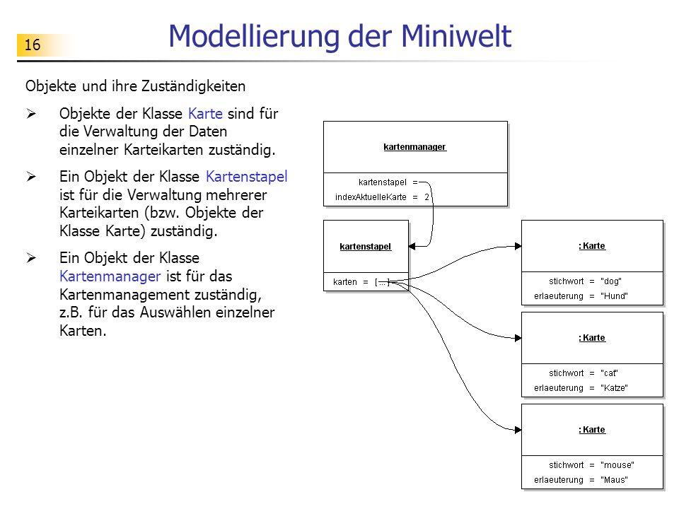 Modellierung der Miniwelt