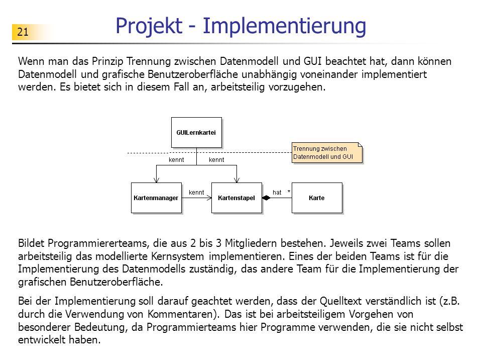 Projekt - Implementierung
