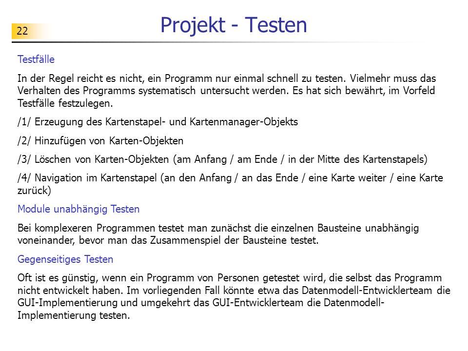 Projekt - Testen Testfälle