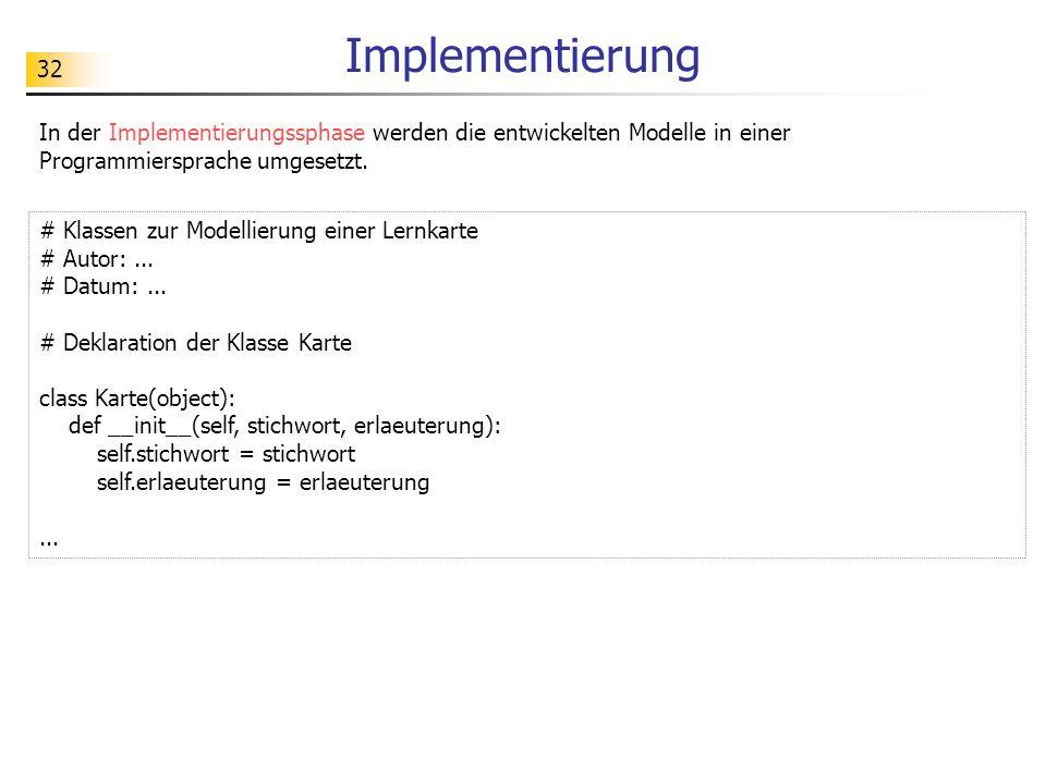 Implementierung In der Implementierungssphase werden die entwickelten Modelle in einer Programmiersprache umgesetzt.