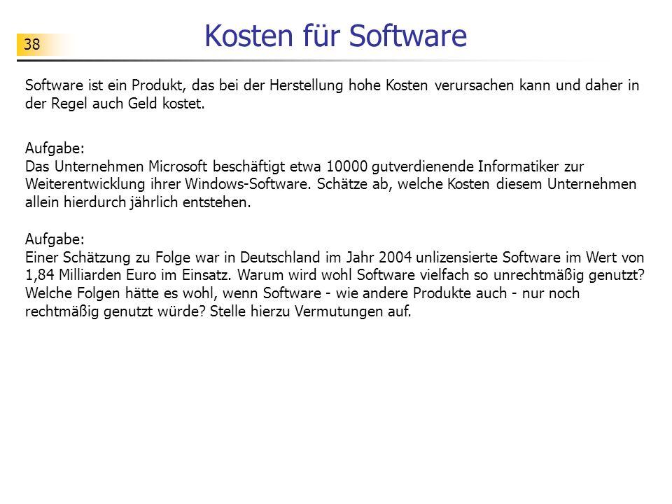 Kosten für Software Software ist ein Produkt, das bei der Herstellung hohe Kosten verursachen kann und daher in der Regel auch Geld kostet.