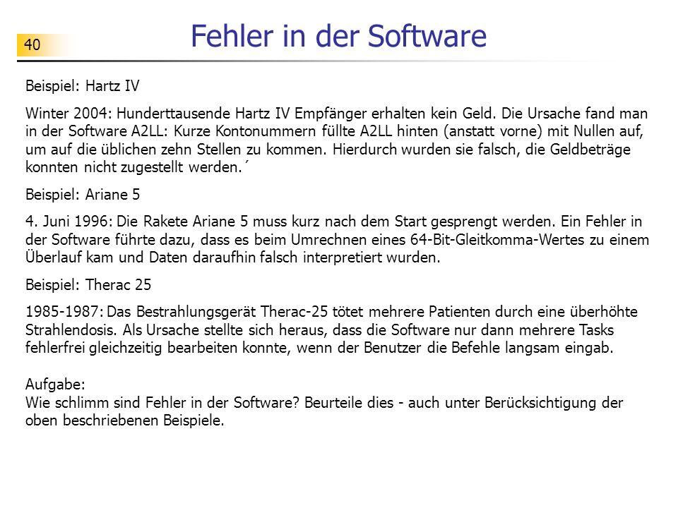 Fehler in der Software Beispiel: Hartz IV