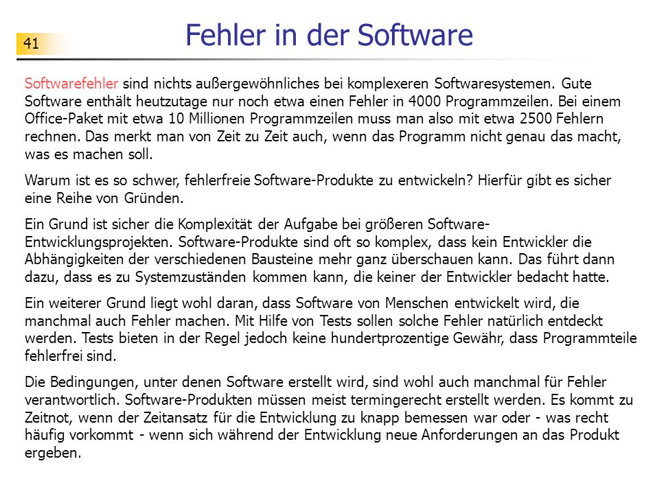 Fehler in der Software