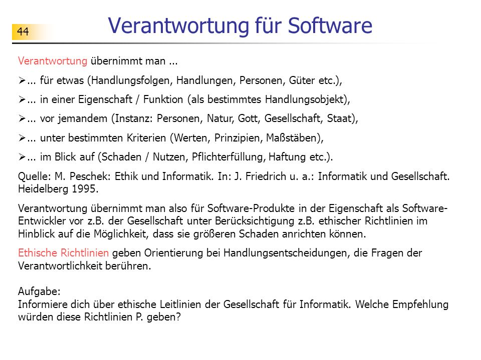 Verantwortung für Software