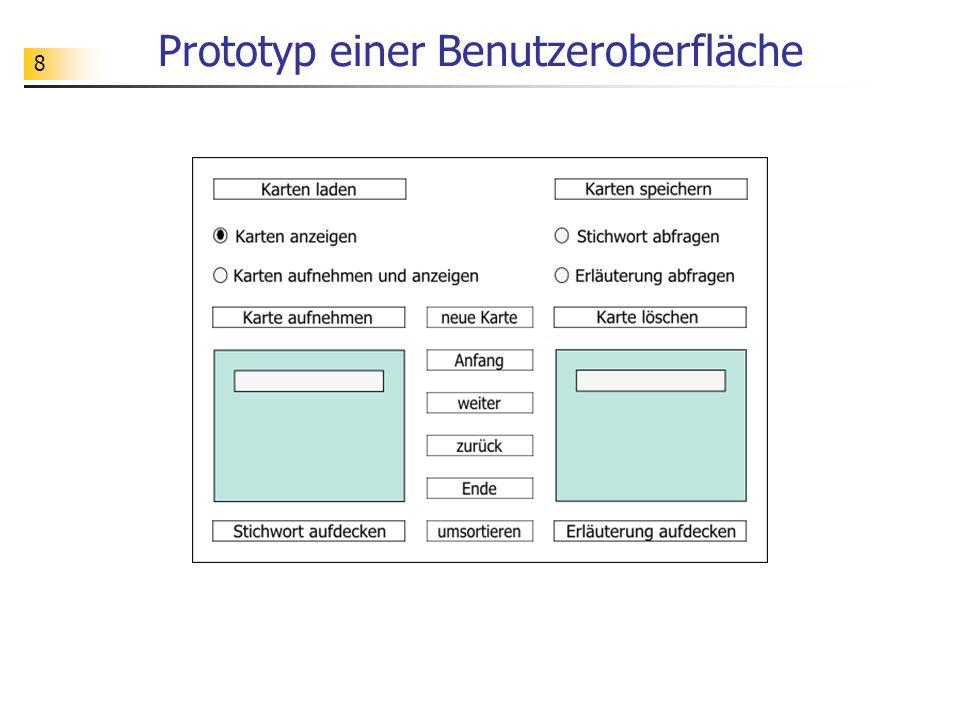 Prototyp einer Benutzeroberfläche