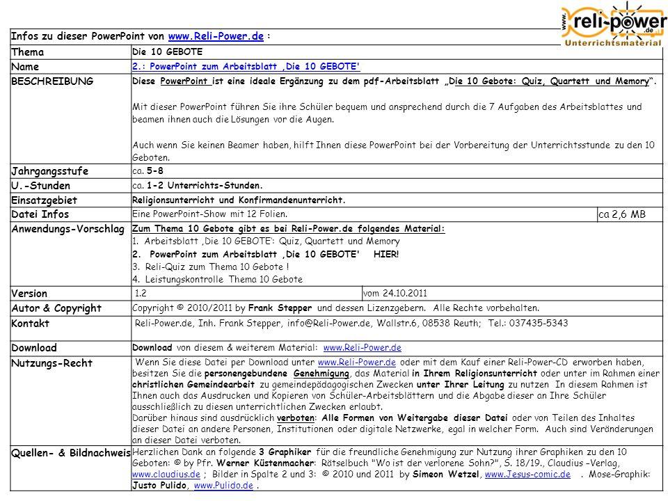 Infos zu dieser PowerPoint von www.Reli-Power.de : Thema Name