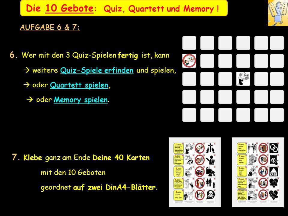 Die 10 Gebote: Quiz, Quartett und Memory !
