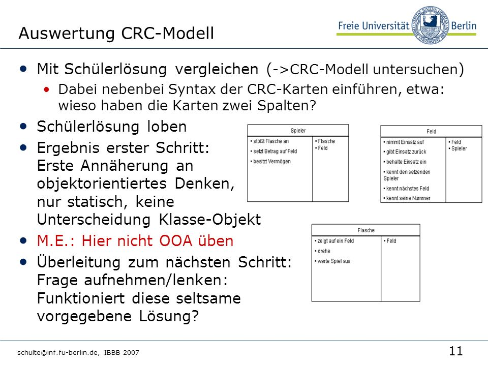 Auswertung CRC-Modell