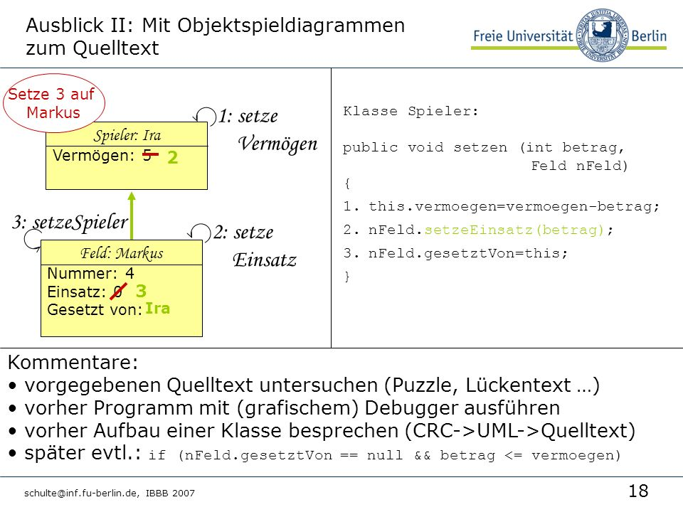 Ausblick II: Mit Objektspieldiagrammen zum Quelltext