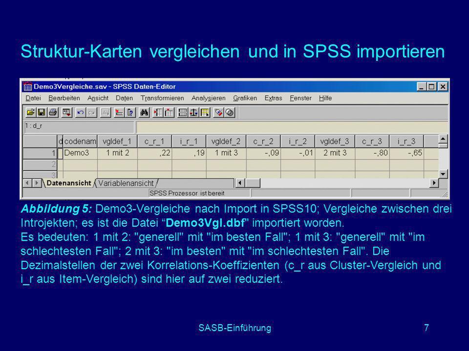 Struktur-Karten vergleichen und in SPSS importieren