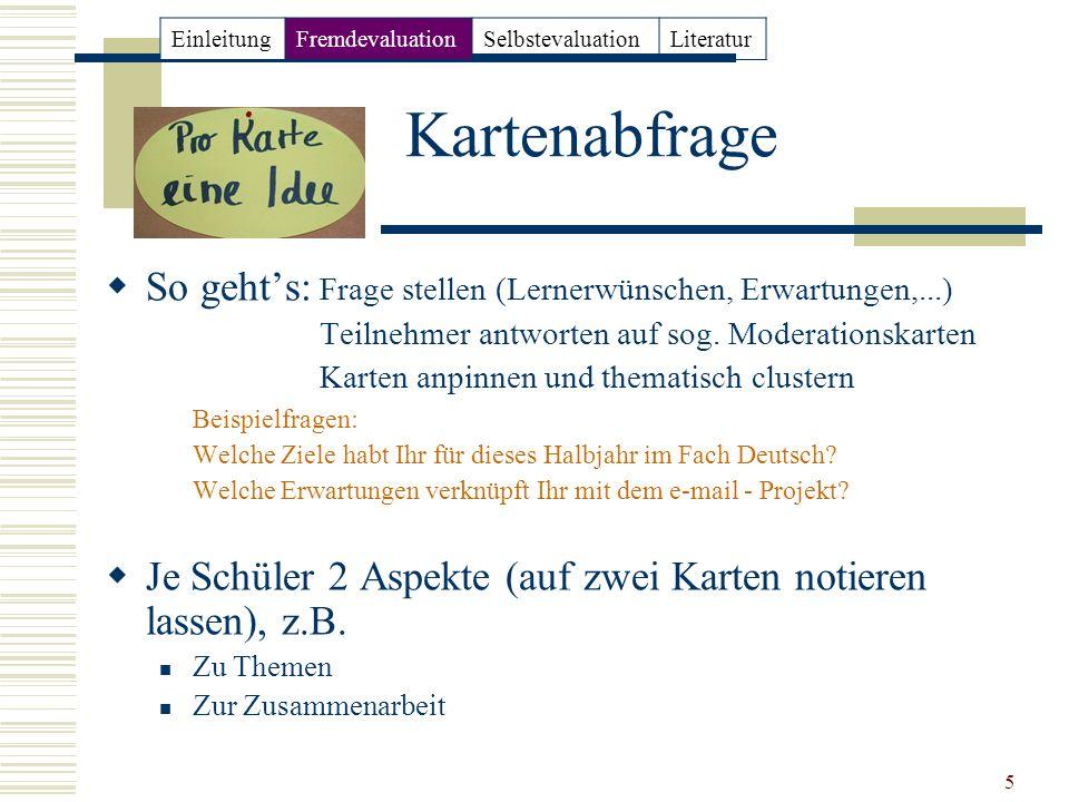 Einleitung Fremdevaluation. Selbstevaluation. Literatur. Kartenabfrage. So geht's: Frage stellen (Lernerwünschen, Erwartungen,...)
