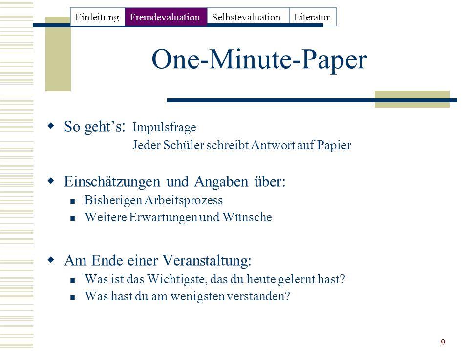 One-Minute-Paper So geht's: Impulsfrage