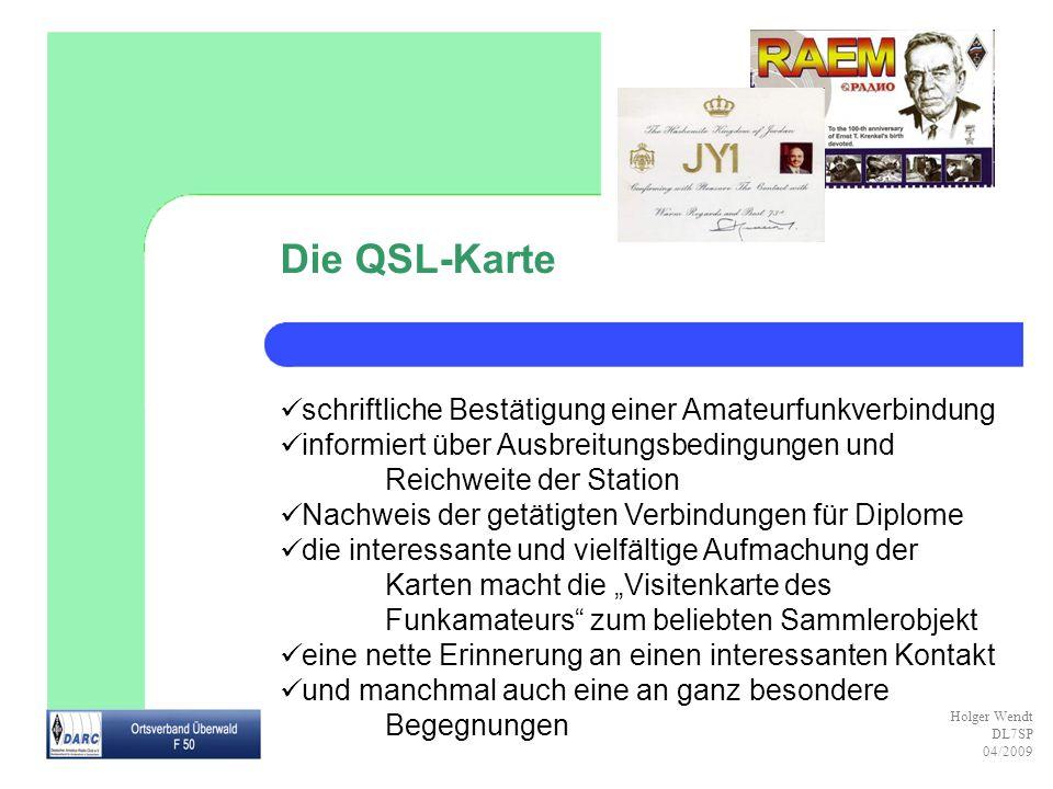 Die QSL-Karte schriftliche Bestätigung einer Amateurfunkverbindung