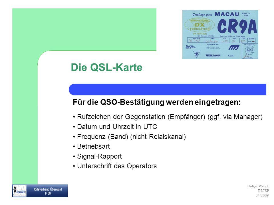 Die QSL-Karte Für die QSO-Bestätigung werden eingetragen: