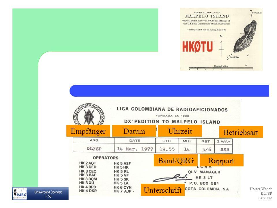 Empfänger Datum Uhrzeit Betriebsart Band/QRG Rapport Unterschrift