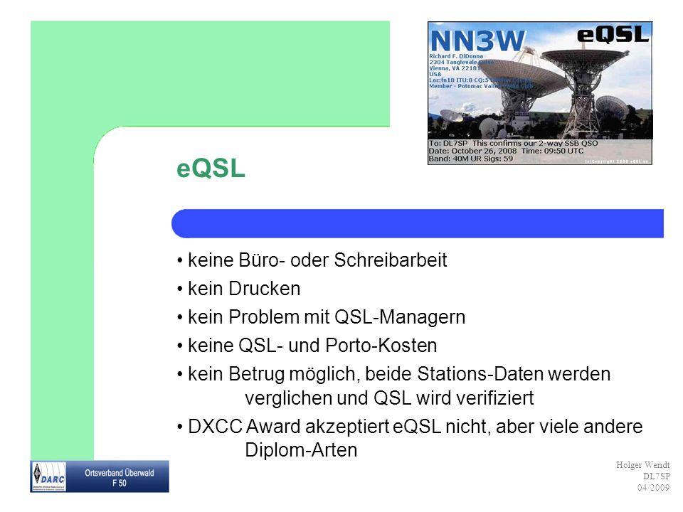 eQSL keine Büro- oder Schreibarbeit kein Drucken