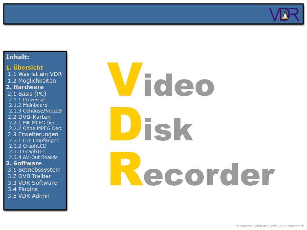 Video Disk Recorder Inhalt: 1. Übersicht 1.1 Was ist ein VDR