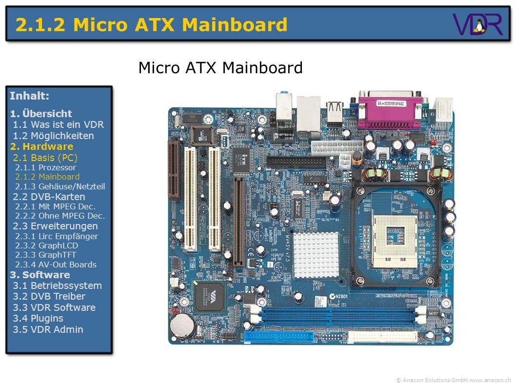 2.1.2 Micro ATX Mainboard Micro ATX Mainboard Inhalt: 1. Übersicht