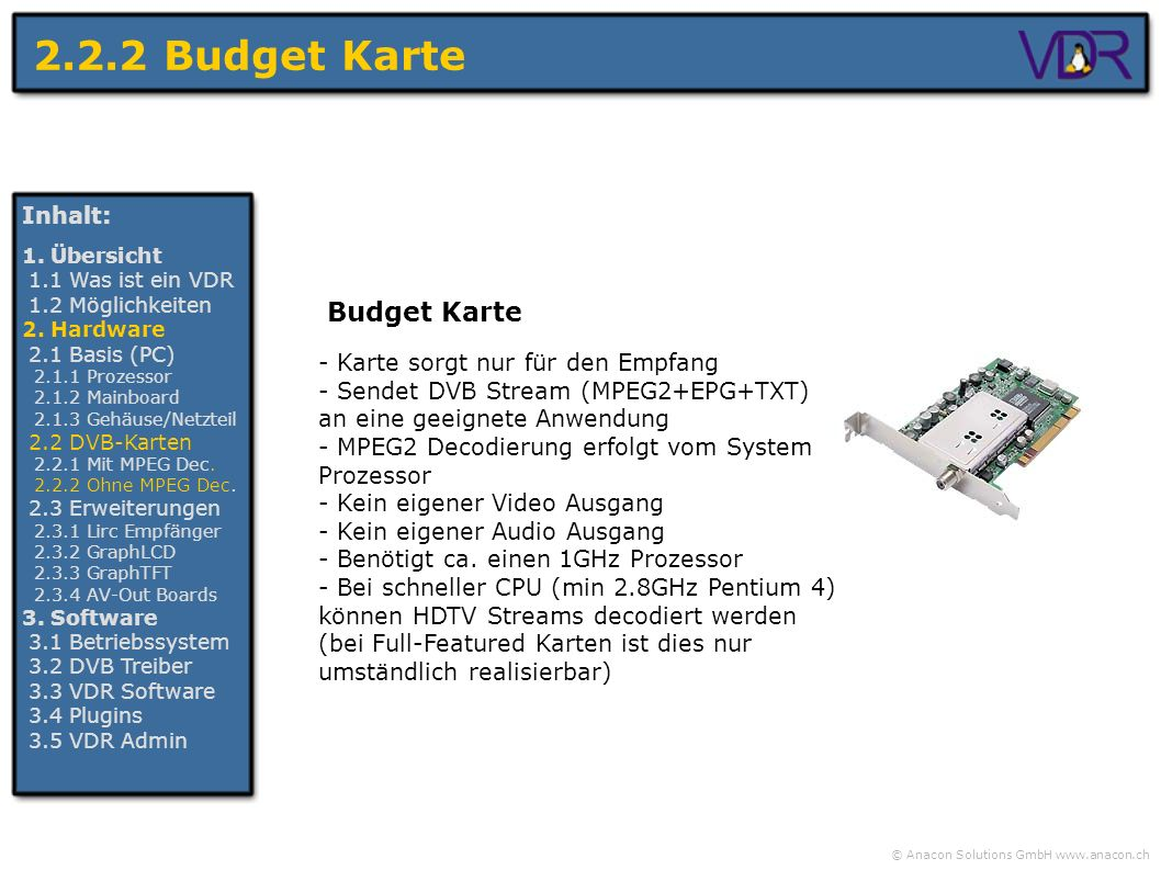 2.2.2 Budget Karte Budget Karte Inhalt: