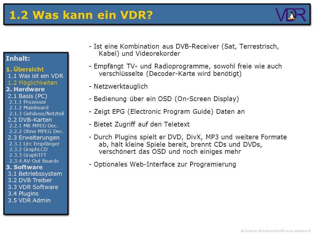 1.2 Was kann ein VDR - Ist eine Kombination aus DVB-Receiver (Sat, Terrestrisch, Kabel) und Videorekorder.