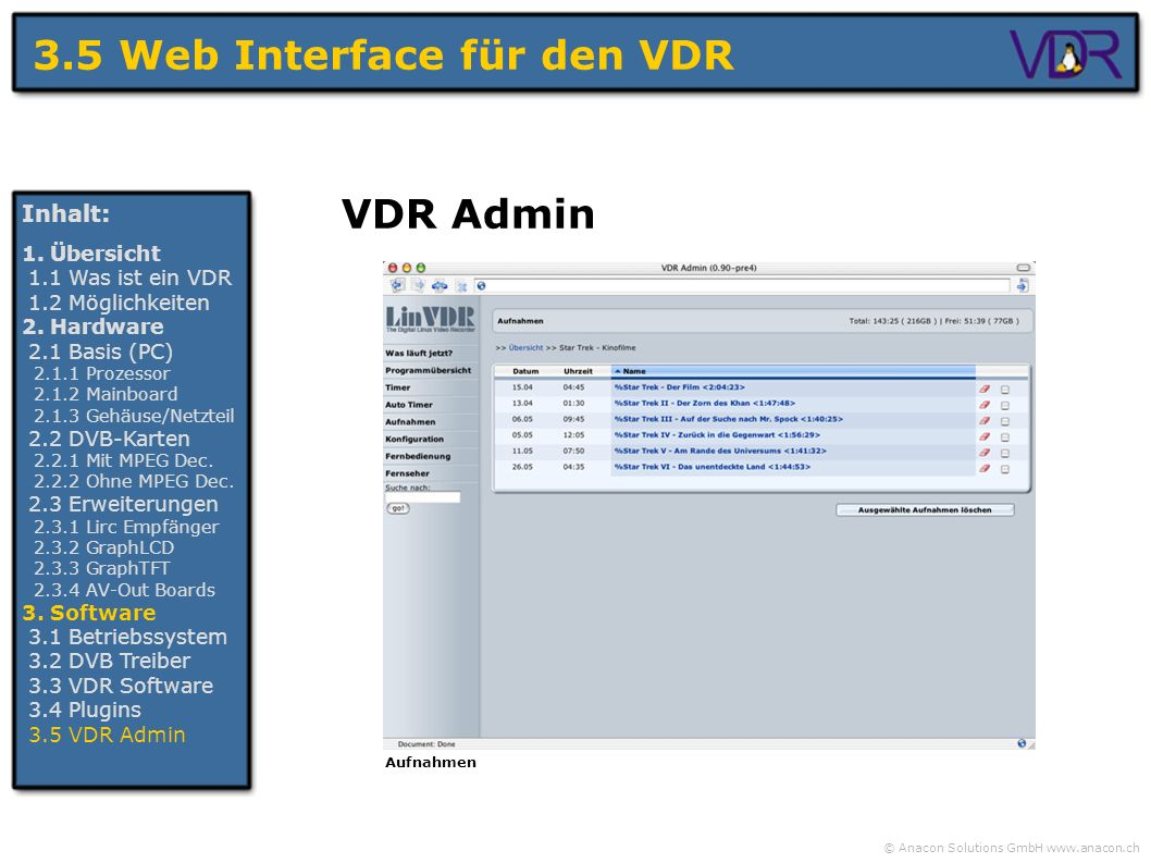 3.5 Web Interface für den VDR