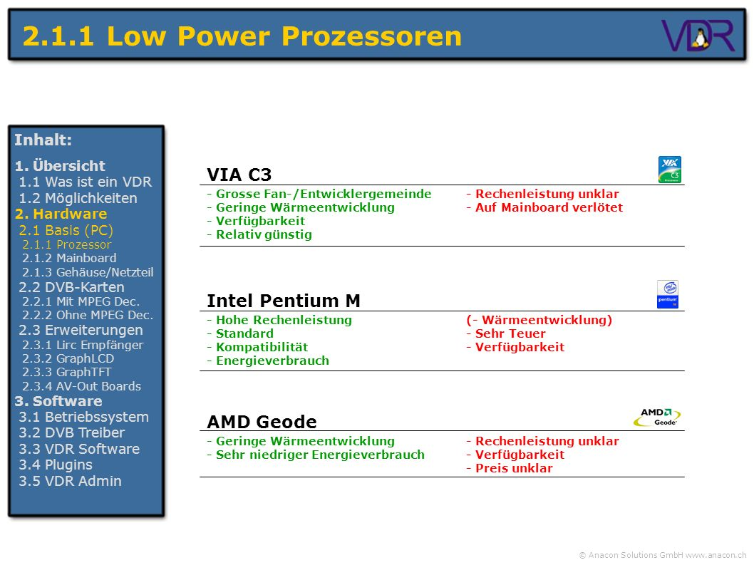 2.1.1 Low Power Prozessoren VIA C3 Intel Pentium M AMD Geode Inhalt: