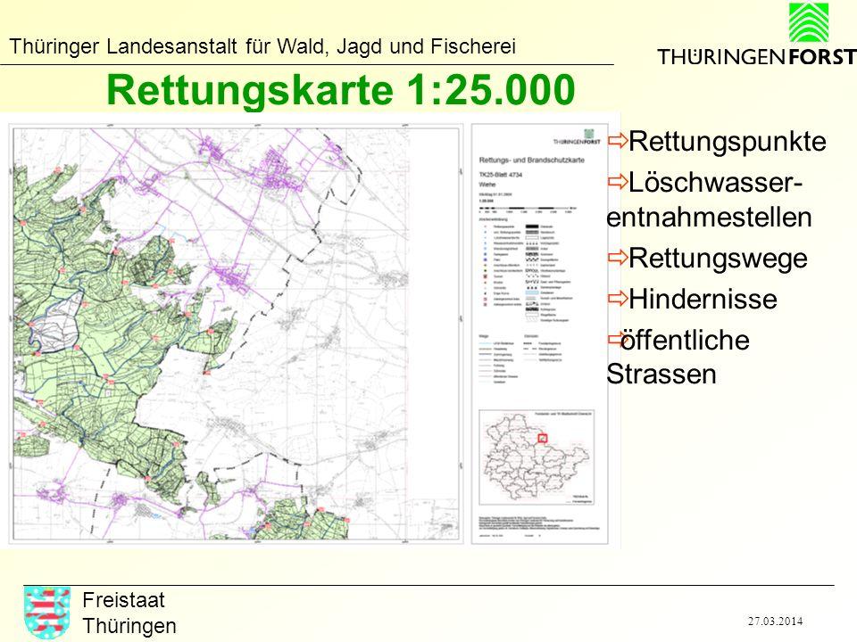 Rettungskarte 1:25.000 Rettungspunkte Löschwasser-entnahmestellen