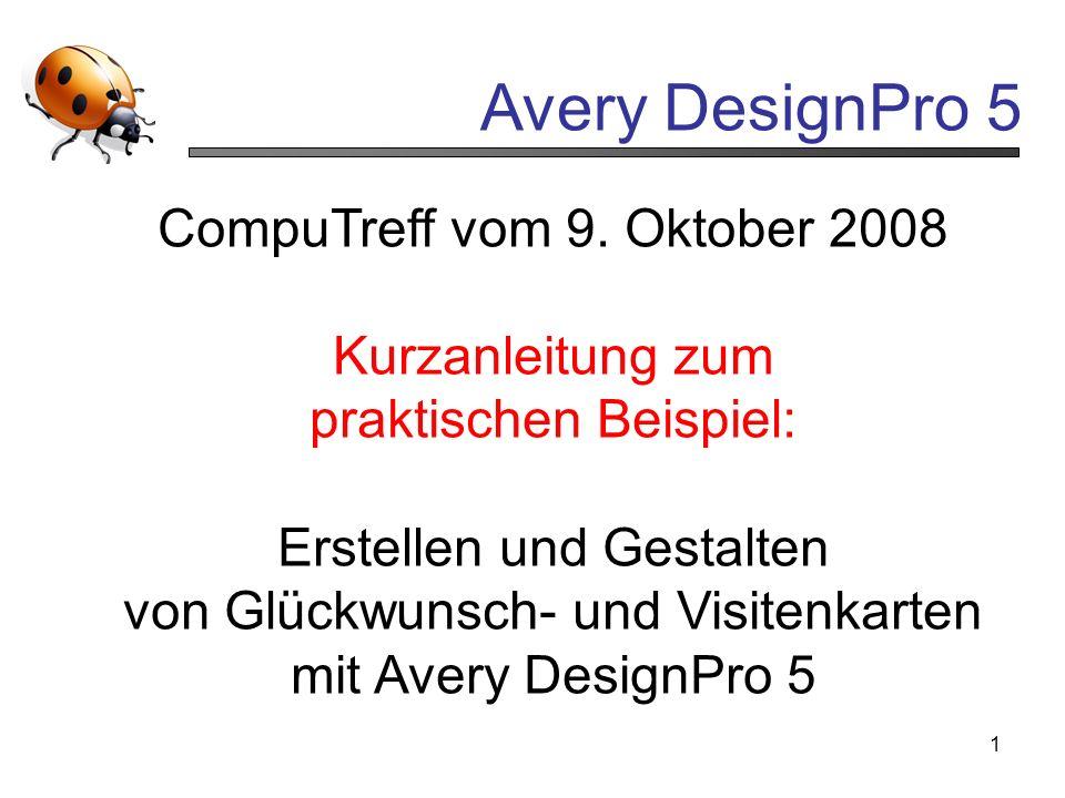 CompuTreff vom 9. Oktober 2008 Kurzanleitung zum praktischen Beispiel: