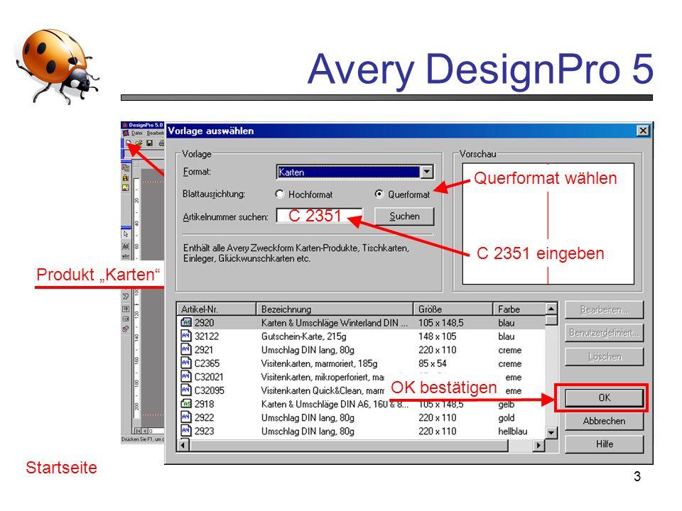 """""""neu anklickenQuerformat wählen. anklicken. C 2351. C 2351 eingeben. Produkt """"Karten wählen. Programm starten."""