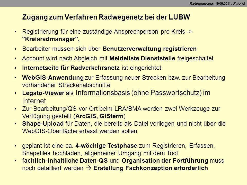 Zugang zum Verfahren Radwegenetz bei der LUBW