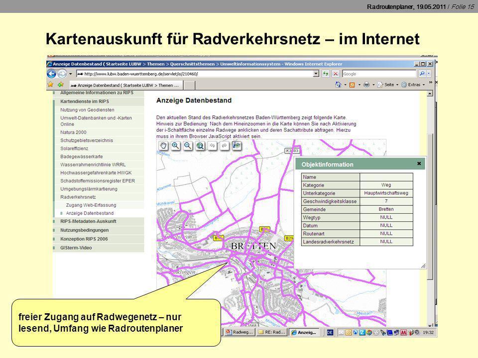 Kartenauskunft für Radverkehrsnetz – im Internet