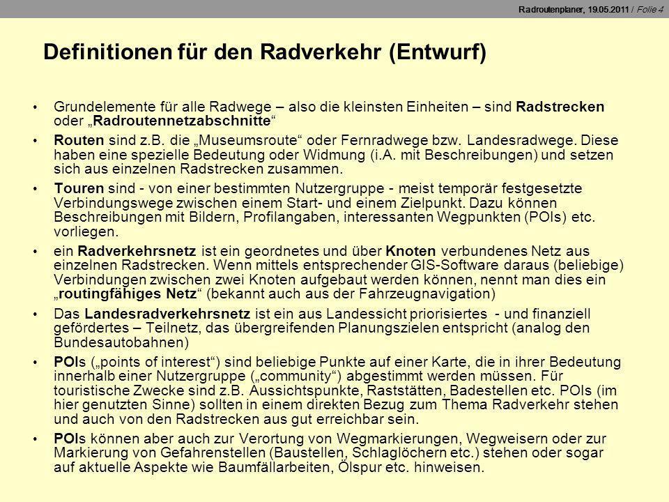 Definitionen für den Radverkehr (Entwurf)