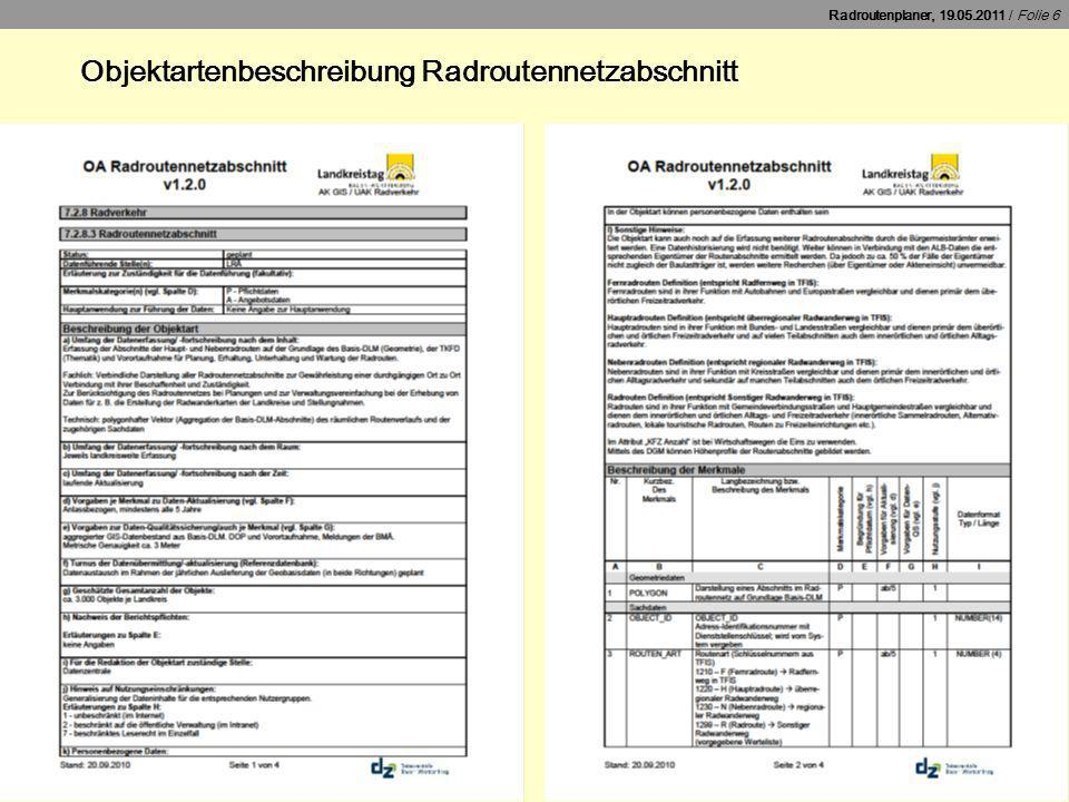 Objektartenbeschreibung Radroutennetzabschnitt