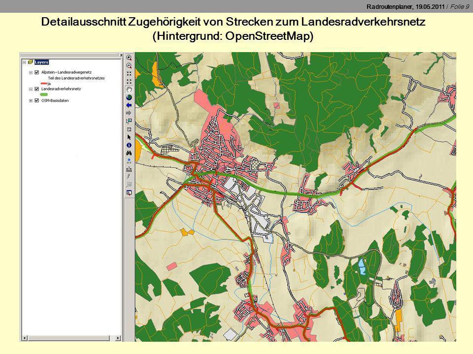 Detailausschnitt Zugehörigkeit von Strecken zum Landesradverkehrsnetz (Hintergrund: OpenStreetMap)