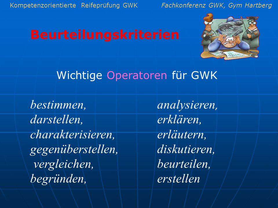 Wichtige Operatoren für GWK