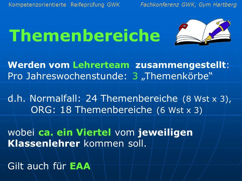 Themenbereiche d.h. Normalfall: 24 Themenbereiche (8 Wst x 3),