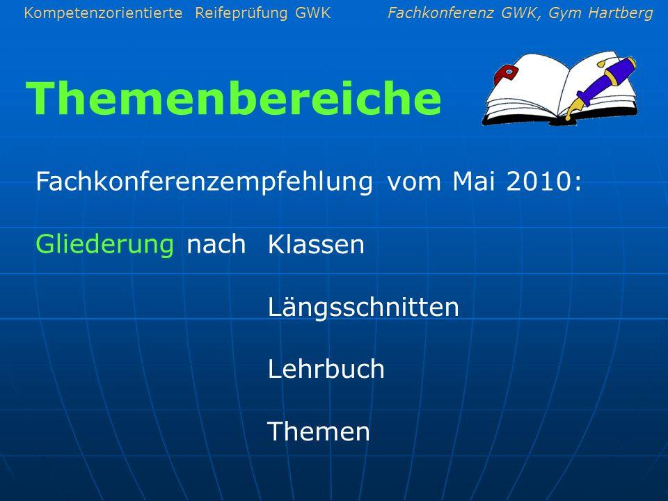 Themenbereiche Fachkonferenzempfehlung vom Mai 2010: Gliederung nach