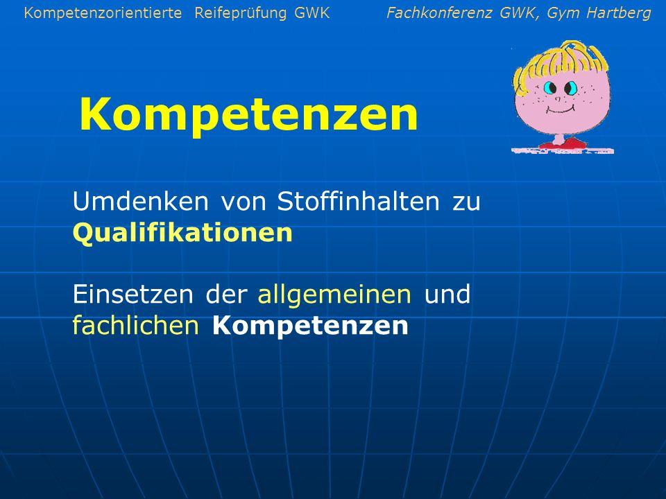 Kompetenzen Umdenken von Stoffinhalten zu Qualifikationen
