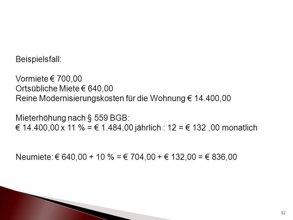 Beispielsfall: Vormiete € 700,00. Ortsübliche Miete € 640,00. Reine Modernisierungskosten für die Wohnung € 14.400,00.