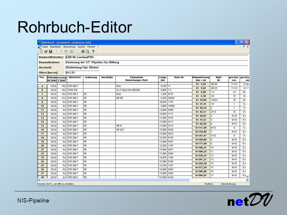 Rohrbuch-Editor NIS-Pipeline