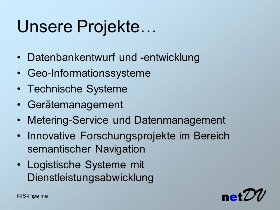 Unsere Projekte… Datenbankentwurf und -entwicklung