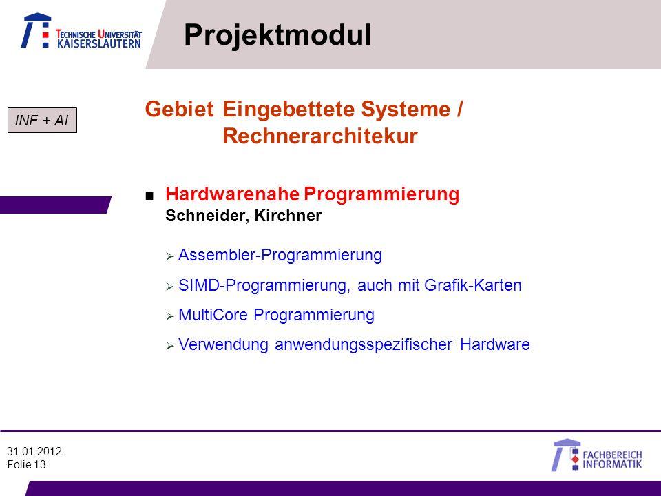 Projektmodul Gebiet Eingebettete Systeme / Rechnerarchitekur