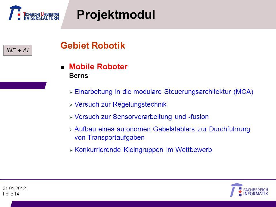 Projektmodul Gebiet Robotik Mobile Roboter Berns