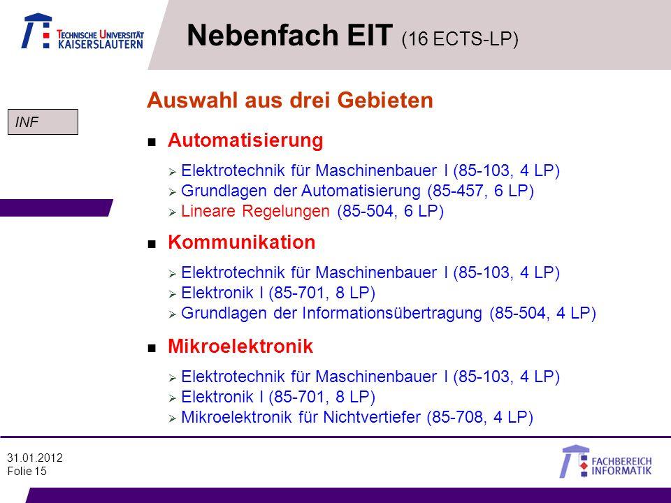 Nebenfach EIT (16 ECTS-LP)