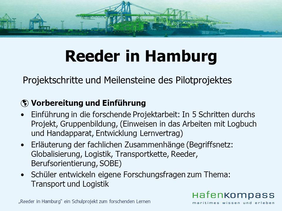 Reeder in Hamburg Projektschritte und Meilensteine des Pilotprojektes