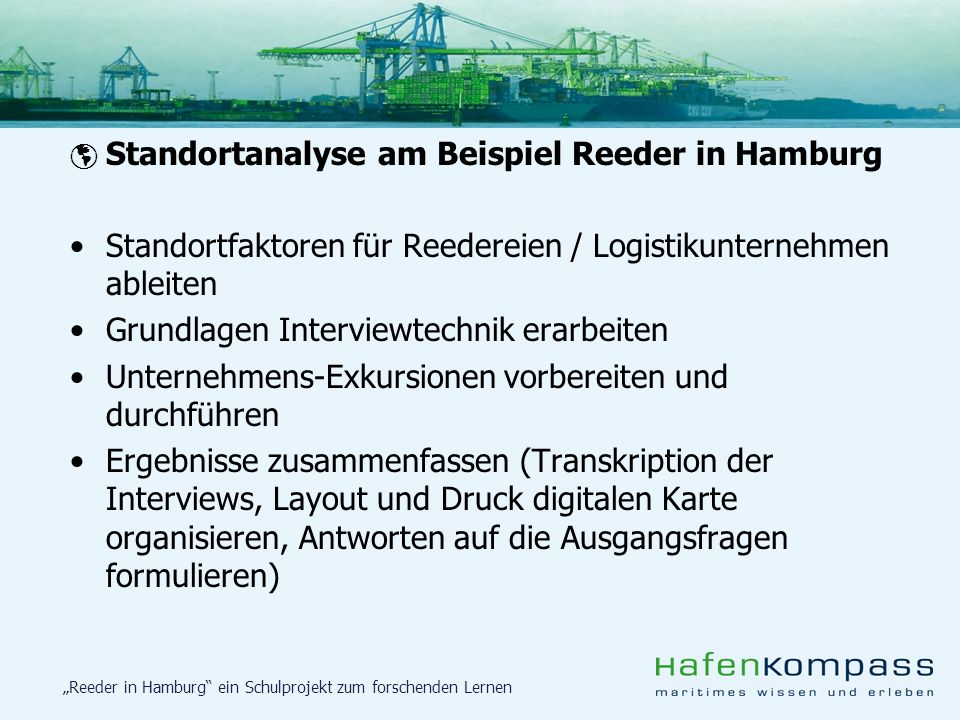 Standortfaktoren für Reedereien / Logistikunternehmen ableiten