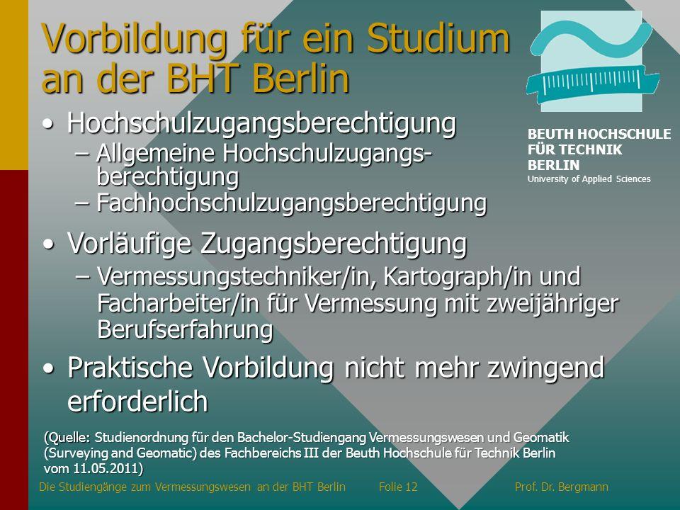 Vorbildung für ein Studium an der BHT Berlin