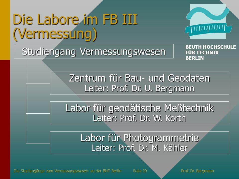 Die Labore im FB III (Vermessung)